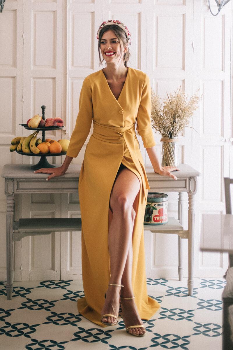 vestido manuela mostaza