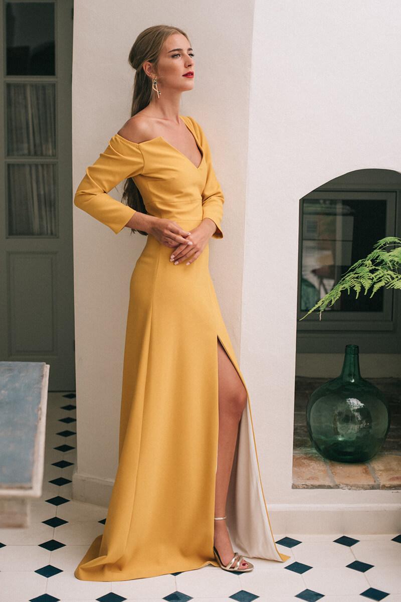 vestido marcela mostaza